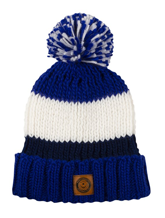 CABLE KNIT STRIPED BOBBLE HAT - Portsmouth FC Online Store 6d285ca531e